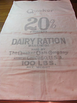 2 Side Quaker Oats Dairy Rations Advertising Sack Bag Feedsack Black Chicago USA
