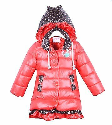 Kids Girls Disney Princess FROZEN Winter Puff Coat Hooded Jacket Coat,3 to 8yrs