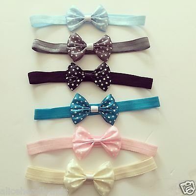Baby Headbands Girls Hair bands Newborn Polka Dot 5CM Bow Toddler UK Seller+ Lot