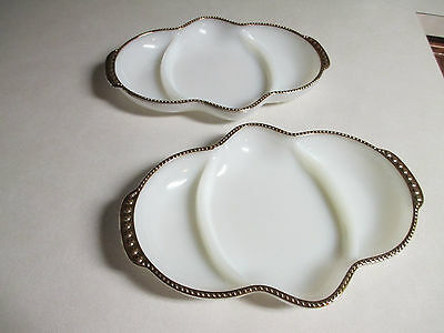 Fire King Anchor Hocking Vintage White Divided Platter Gold Trim Three Sections