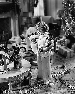 Shirley Temple with puppy dog x-mas presents Stowaway movie star 8x10 rare photo