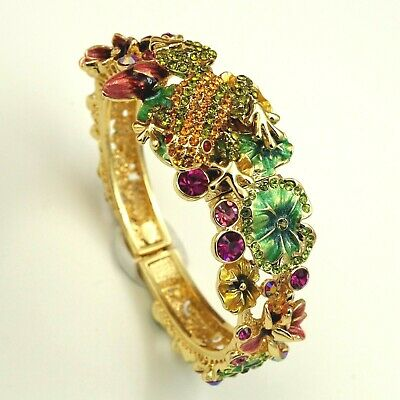 New Gorgeous 18K Gold  GP Austrian Crystal Frog Lotus Bangle Cuff Bracelet 04599