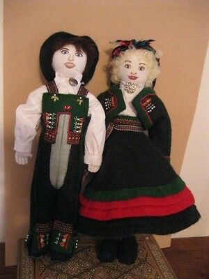 "12"" RARE Setesdal Bunad Cloth Dolls Norway Norwegian Handmade Cloth Scandinavia"