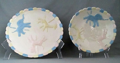 Baby Child 2 Piece Plate Bowl Set Animal Carousel Merry Go Round Scallop Edge