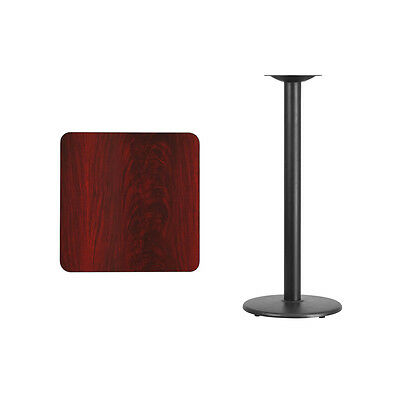 """24"""" Square Mahogany Laminate Table Top With Base - Bar Height Restaurant Table"""