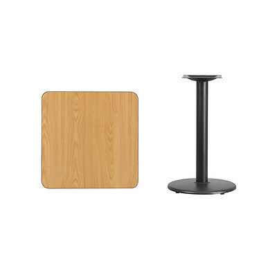 """24"""" Square Natural Laminate Table Top With Base - Table Height Restaurant Table"""