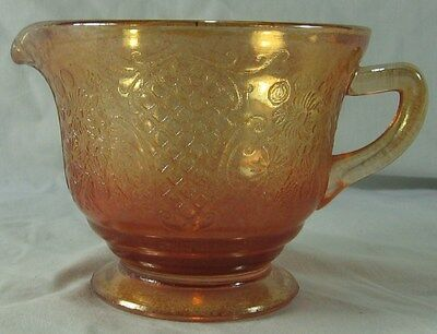 1 Creamer~Federal Glass Normandie Orange/Merigold Iridescent Bouquet & Lattice