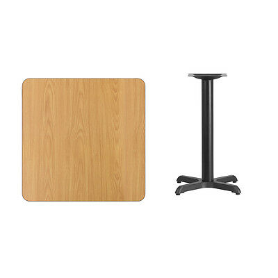 """30"""" Square Natural Laminate Table Top With Base - Table Height Restaurant Table"""