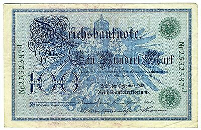 Germany Empire 1908 - 100 Mark - Reichsbanknote - Pre-WWI Issue