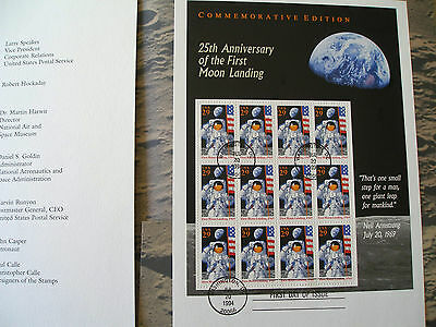 1994 25th Anniversary.First Moon Landing,book/folder with # 2841 stamp FDC Cover