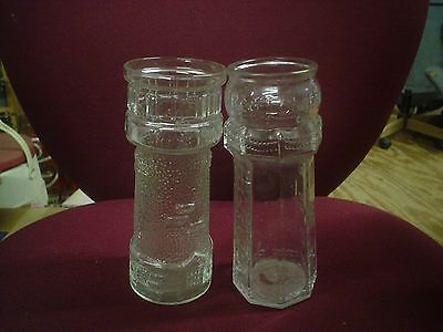 VINTAGE LOT OF 2 RED LOBSTER ADVERTISING LIGHTHOUSE GLASS VASES OR TUMBLERS
