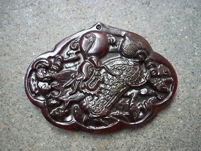 Chinese old jade carving kylin pendant worth collecting  F31