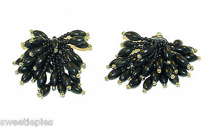 Earrings, Vintage Clip-on, dangly-bushy Bead-Cluster Black Gold-tone, 2-1/2""