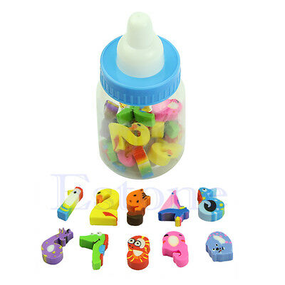 25pcs Mini Rubber Cute Cartoon Number Pencil Eraser For Children Stationery Gift