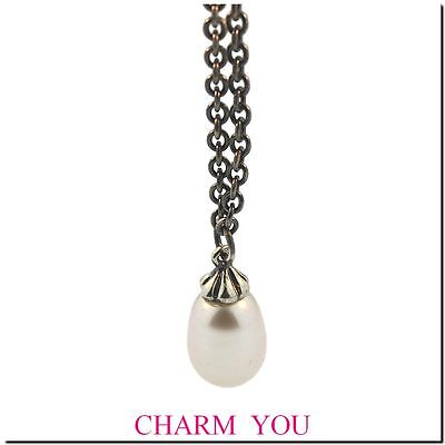 AUTHENTIC  TROLLBEADS SILVER FANTASY W/ PEARL NECKLACE  54100 - 39.3 inches