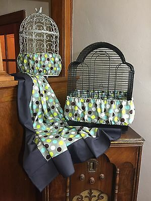 NEW Handmade Pastel Polka Dot Bird Cage Skirt Seed Catcher Guard or Cover