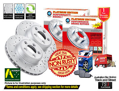 2 FRONT DISC BRAKE ROTORS DRILLED SLOTTED HOLDEN COMMODORE VE SS V8 w/ PADS