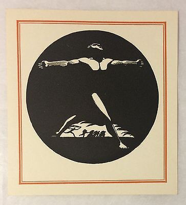 Vintage c1950s Rockwell Kent Male Nude Antioch Printed Book Plate
