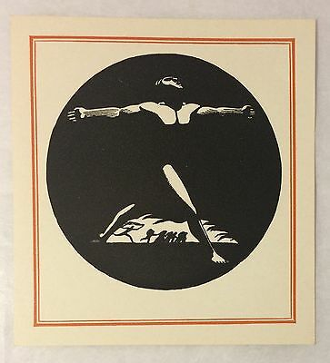 c1950s Antioch Printed Rockwell Kent Male Nude Antique Vintage Book Plate Unused