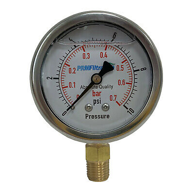 New Prm 0-10 Psi Pressure Gauge 2.5 Inch Ss Case ¼ Inch Npt Bottom Nib