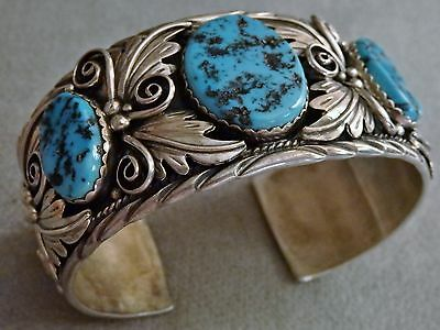 """GIANT 103Gs NAVAJO SLEEPING BEAUTY TURQUOISE STERLING Silver CUFF LARGE 8"""" Wrist"""