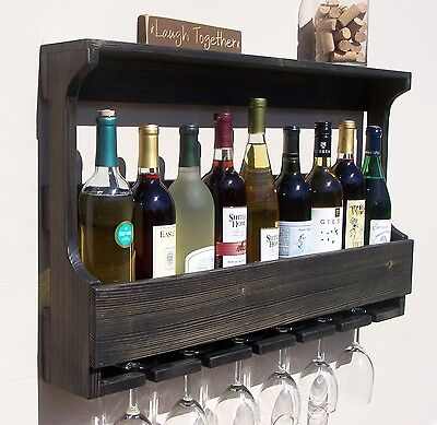 Rustic Wall Mount 9 Bottle Wine Rack With 6 Glass Holder, Ebony Finish