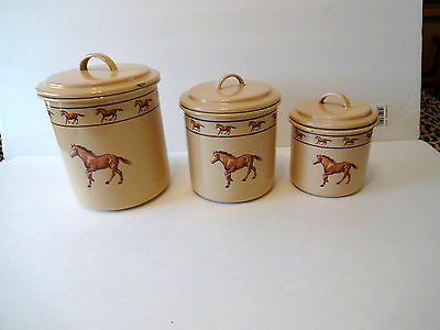 """SET OF 3 """"MARBLE CANYON"""" ENAMEL CANISTERS WESTERN THEME"""