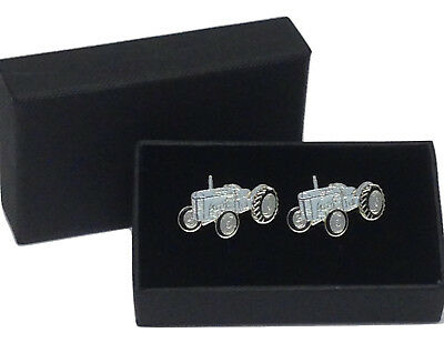 T20 Ferguson Grey Tractor Cufflinks Gift Boxed Wedding/Farming Enamel Groom