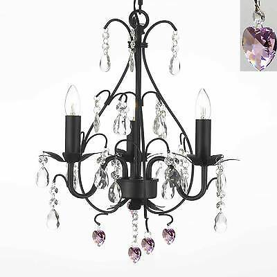 pink heart wrought iron crystal chandelier lighting pendant free shipping