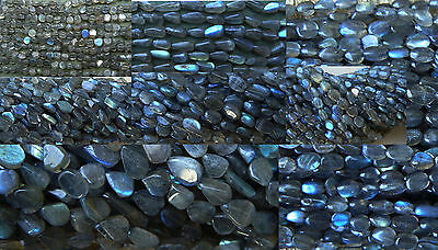 "Labradorite beads AAA 14""strands Round, Rondelle, Brick, Oval, Square, More"