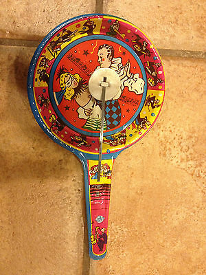 US METAL TOY NOISE MAKER MUSIC MARDI GRAS NEW YEARS EVE TIN LITHO  GREAT SHAPE