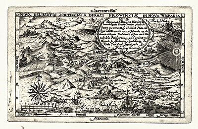Vintage Antique Style Mexico Map 1682 Archival Quality Reproduction Print