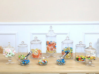 10 PCS  Candy Lolly Buffet Glass Assort Size Wedding Party  Jars Bowls