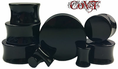 "Pair 8g-1"" Solid Black Acrylic Plugs Saddle Double Flare Tunnels Ear Gauges"