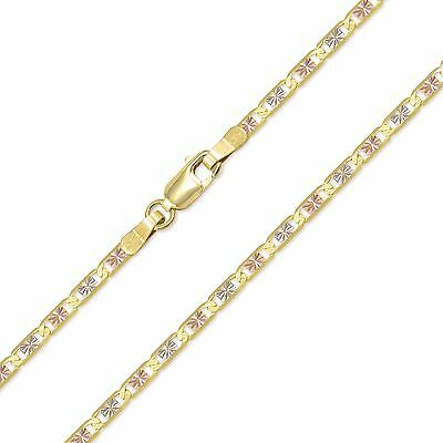 "14K Solid Yellow White Rose Gold Valentino Necklace Chain 2.6mm 16-24"" Women Men"