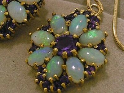 E095 - Genuine 9K 9ct Solid Gold Natural Opal & Amethyst Drop Earrings STUNNING