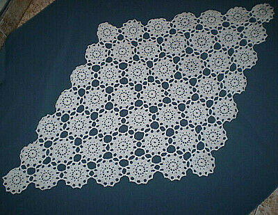 Vintage Hand-made-Lace crocheted-Cotton  tablecloth  color White  100% Cotton