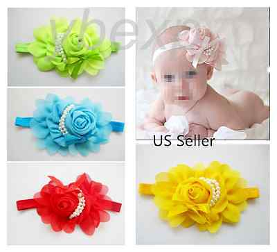 10pcs Chiffon Pearl Headband Flower Baby Girl  Hair Bow Band Accessories