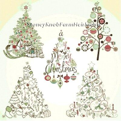 Christmas Tree Collection ~ Counted Cross Stitch Pattern ~ PDF on CD