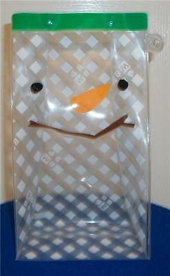 Bath Body Works Clear White Snowman Plastic Gift Bag Pouch Green Trim Reusable