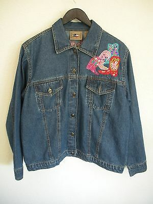 Don't Mess With Texas Denim Jacket Western Women's w/Embellished Cowboy Boots L