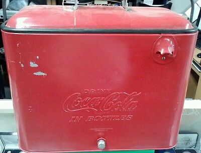 Vintage Red Coca Cola metal ice chest