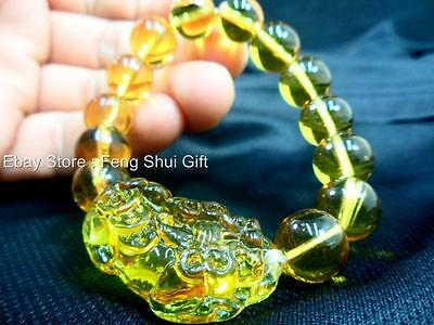 Yellow Pi Xiu Dragon Chinese Protection Coin Bead Charm Lucky Bangle Bracelet
