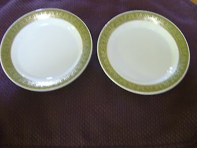 "TWO SHENANGO CHINA BREAD BUTTER PLATES GREEN GOLD INTERPACE RIM 5 1/2"" ACROSS"