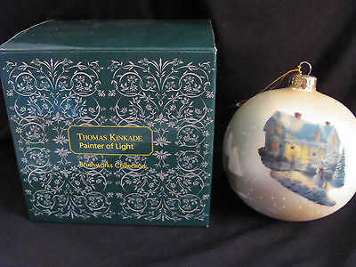 Thomas Kinkade Brushworks Collection Blessings of Christmas Glass Ornament BOX