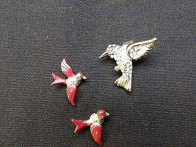 Lot 3 Vintage Sparrows? Birds Pins Hummingbird Pin,Tack Style Lapel Hat