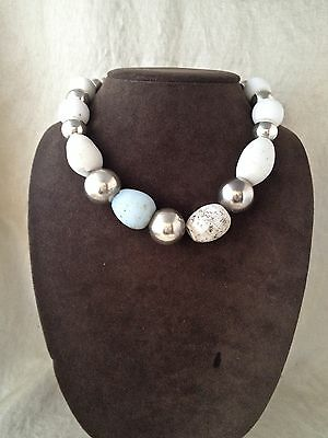 Vintage Signed Robert Lee Morris Sterling Silver African Glass Bead Necklace