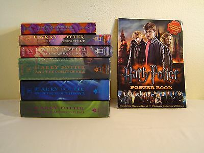 Harry Potter Book Lot-6 Books & H. Potter Ultimate Collector's Edition Poster Bk