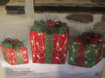 SET OF 3 LIGHTED CHRISTMAS GIFT BOXES INDOOR OUTDOOR LAWN YARD DECORATION
