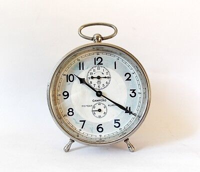 Rare Antique JUNGHANS Campeao 1900s Alarm clock Desk Table Chrome Retro Watch